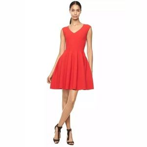 Milly Size P Textured Godet Dress Red Fit N Flare